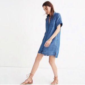 Madewell Blue Denim Drop-Hem Shirtdress Small
